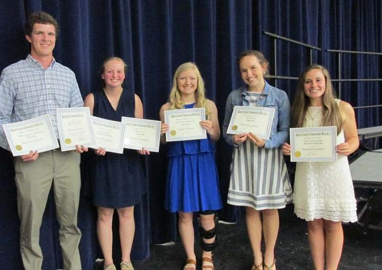 2017 Academic Foundation Scholarship recipients, from left to right: Ryan Hutchinson, Kayla Dannaman, Logan Niehaus, Hannah Gaffner, and Samantha Siefken.
